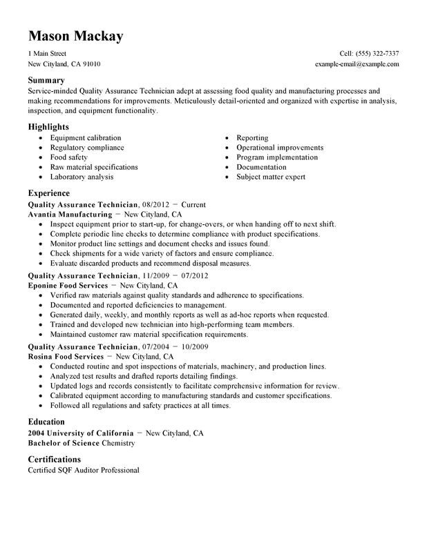 quality assurance resume examples created by pros myperfectresume for control wellness Resume Resume Examples For Quality Control