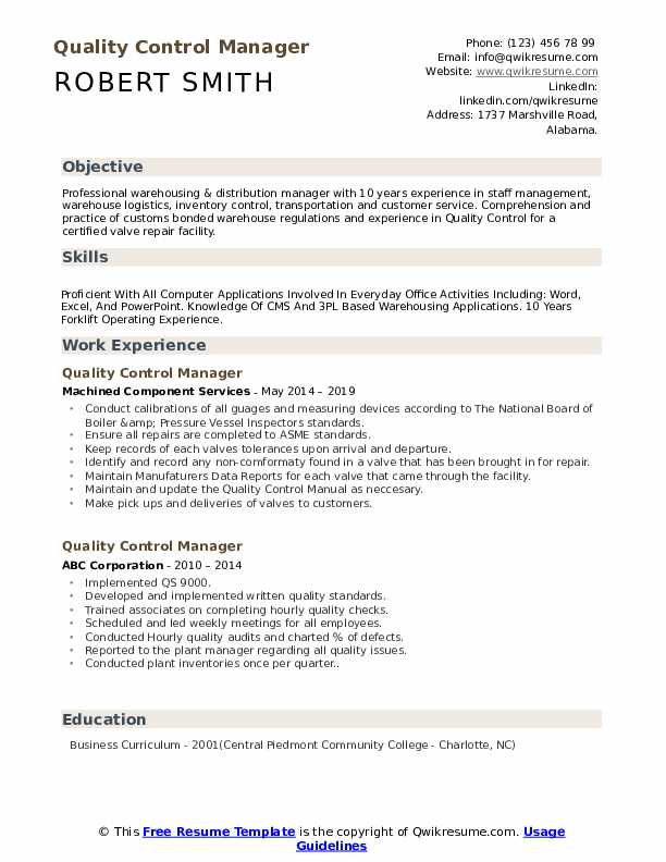 quality control manager resume samples qwikresume examples for pdf relationship Resume Resume Examples For Quality Control
