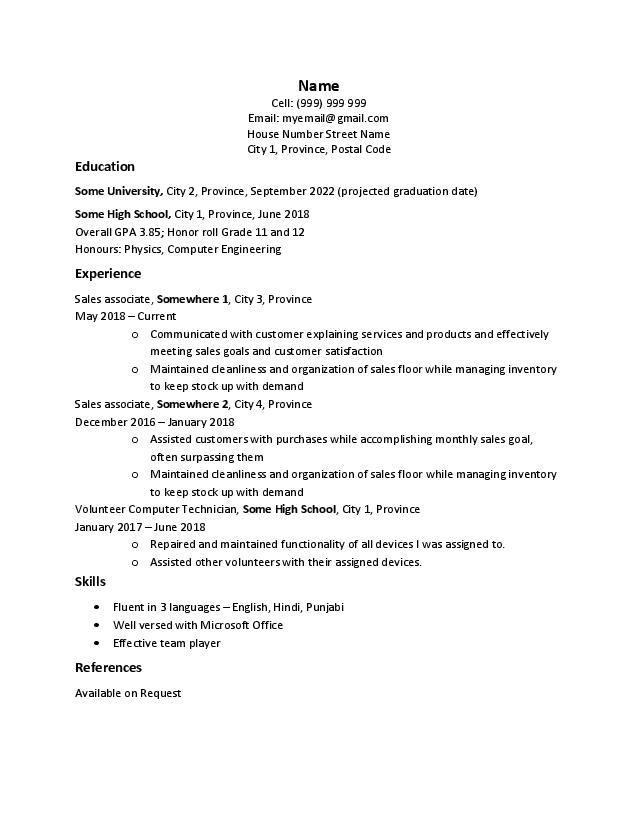 recent high school graduate looking for any entry level job feedback requested current Resume Recent High School Graduate Resume