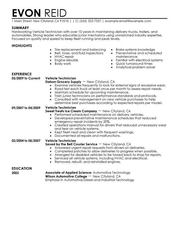 resume examples diesel mechanic in objective good for warehouse masters program paralegal Resume Diesel Mechanic Resume Samples Examples