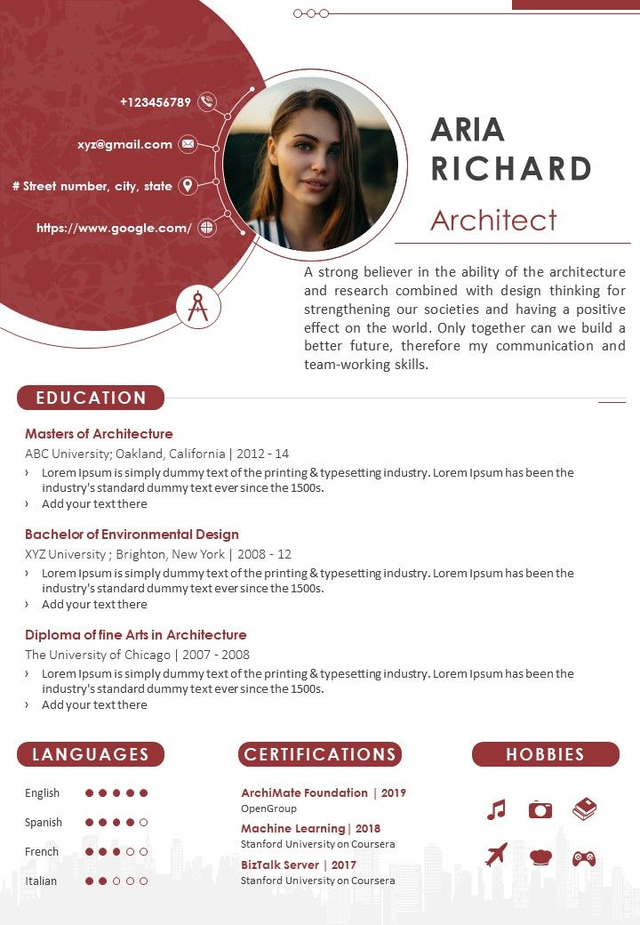 sample architect cv format with experience and skills presentation powerpoint diagrams Resume Landscape Architect Resume Sample