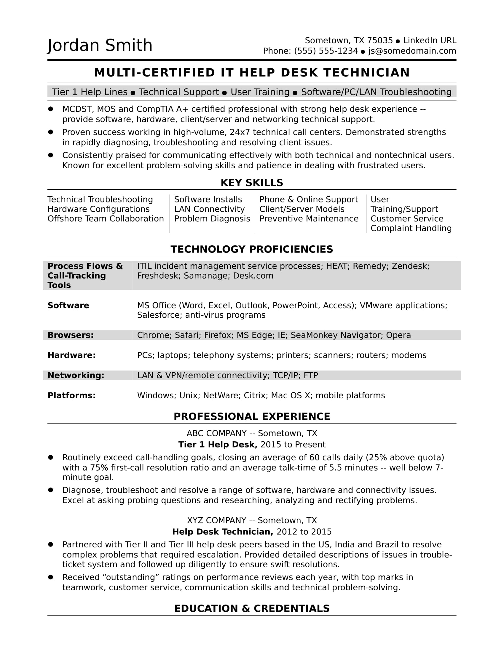 sample resume for midlevel it help desk professional monster escalation engineer entry Resume Escalation Engineer Resume