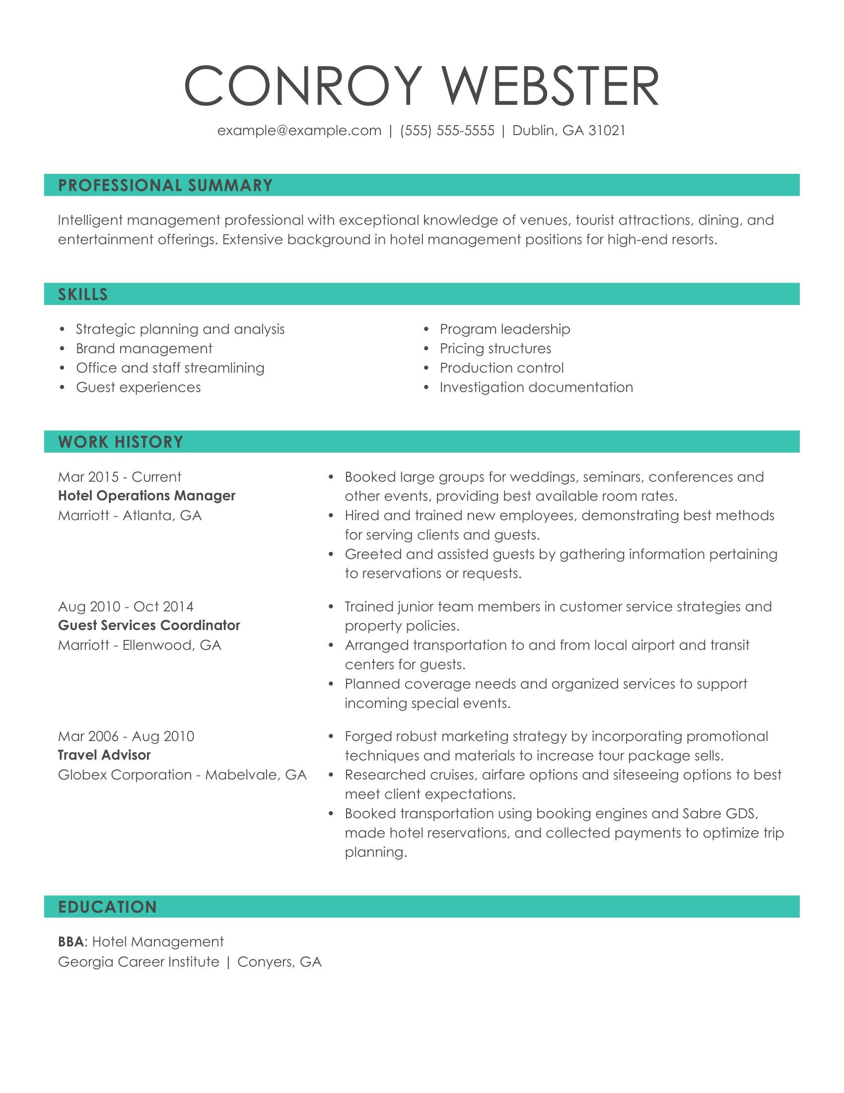 see our top customer service resume example myperfectresume statement examples hotel ops Resume Resume Statement Examples