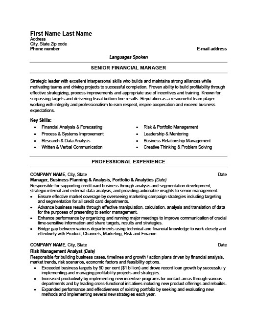 senior financial manager resume template premium samples example finance professional aux Resume Finance Professional Resume