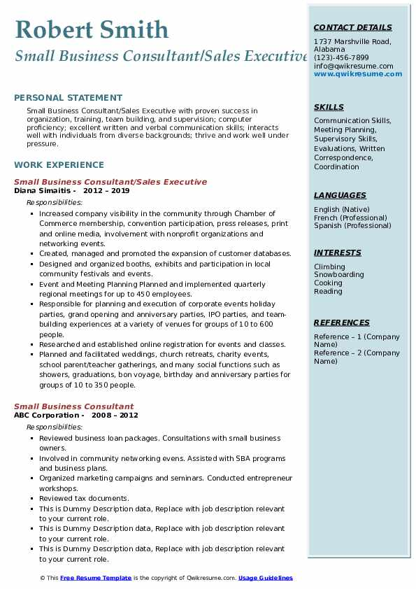 small business consultant resume samples qwikresume advisor pdf template for internship Resume Small Business Advisor Resume