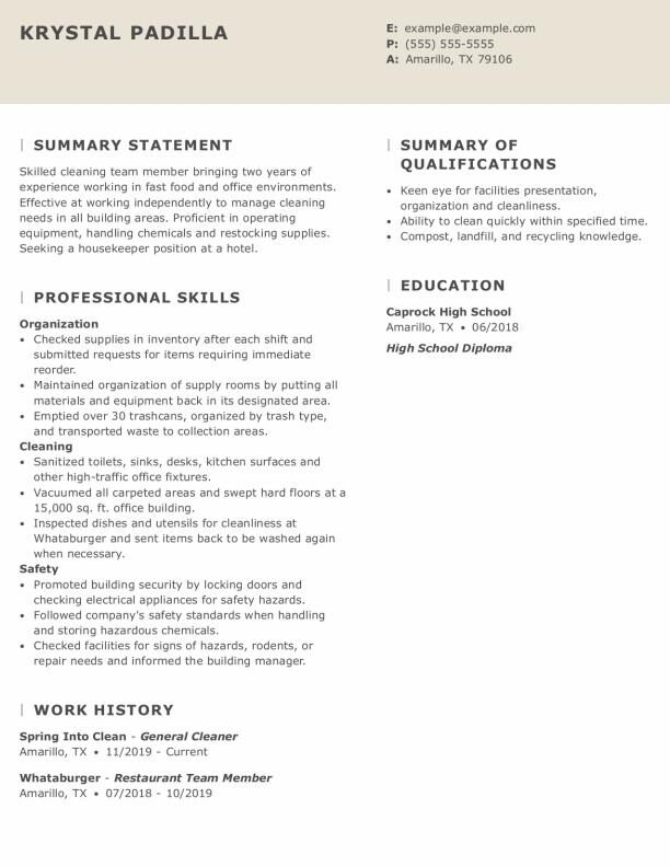 take look at our housekeeper resume example housekeeping experience for accentuate funca Resume Housekeeping Experience For Resume