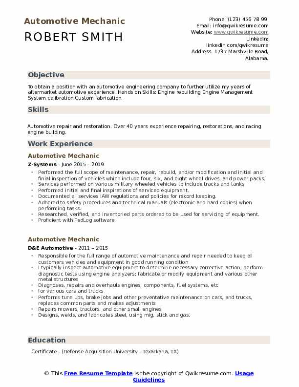 unforgettable diesel mechanic resume examples to stand out myperfectresume auto sample Resume Diesel Mechanic Resume Samples Examples